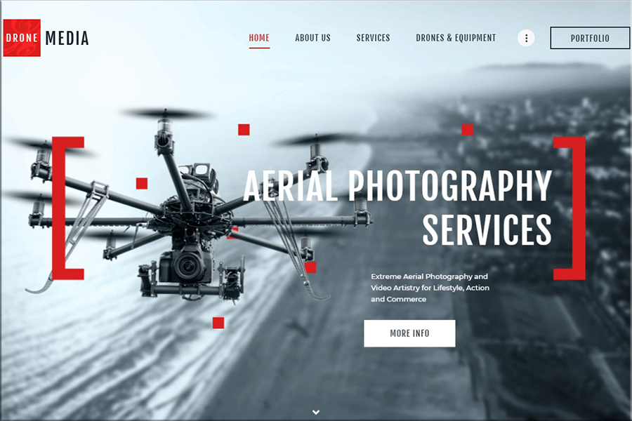 Drone Media - zračna fotografija in videografija WordPress tema