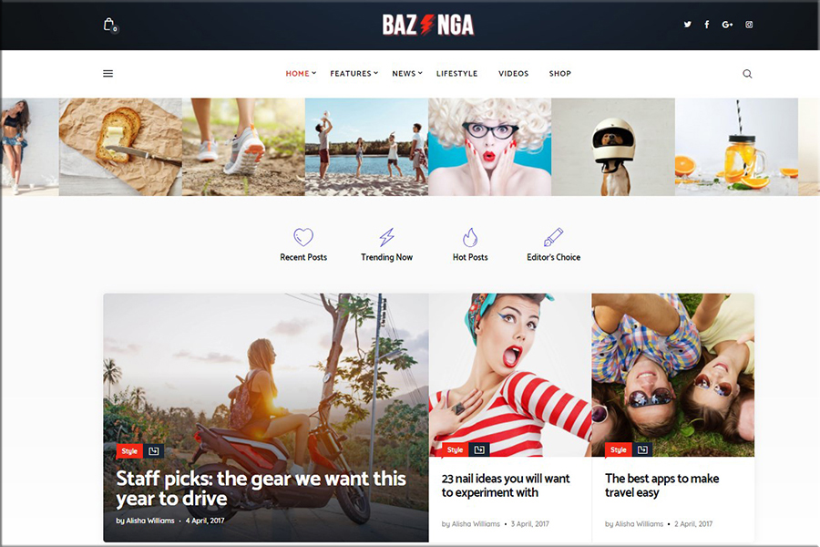 Bazinga - Revija in virusni blog WordPress tema