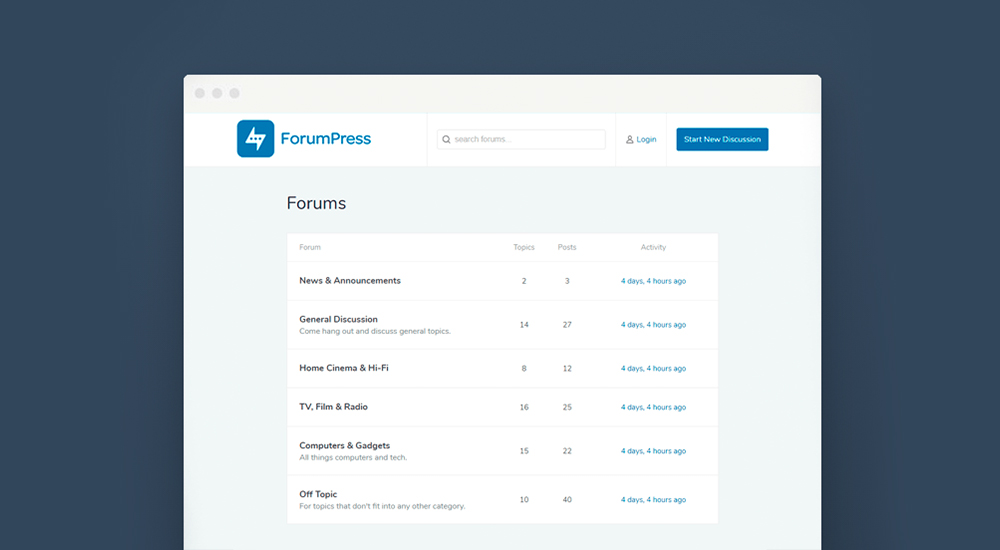 ForumPress bbPress Forum Tema de WordPress