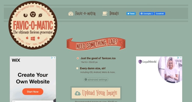 De Favicomatic-website, een gratis favicon-generator.