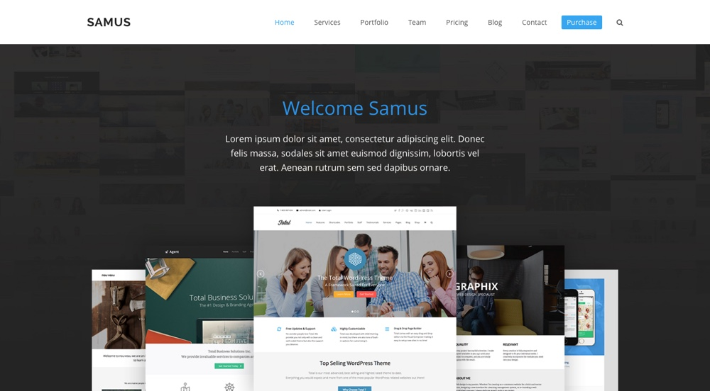 Tema total de WordPress: Samus Agency Demo
