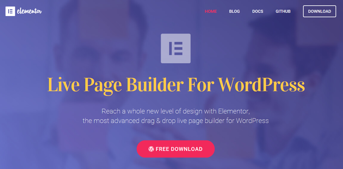 """Elementor Live Page Builder"" pagrindinis puslapis"