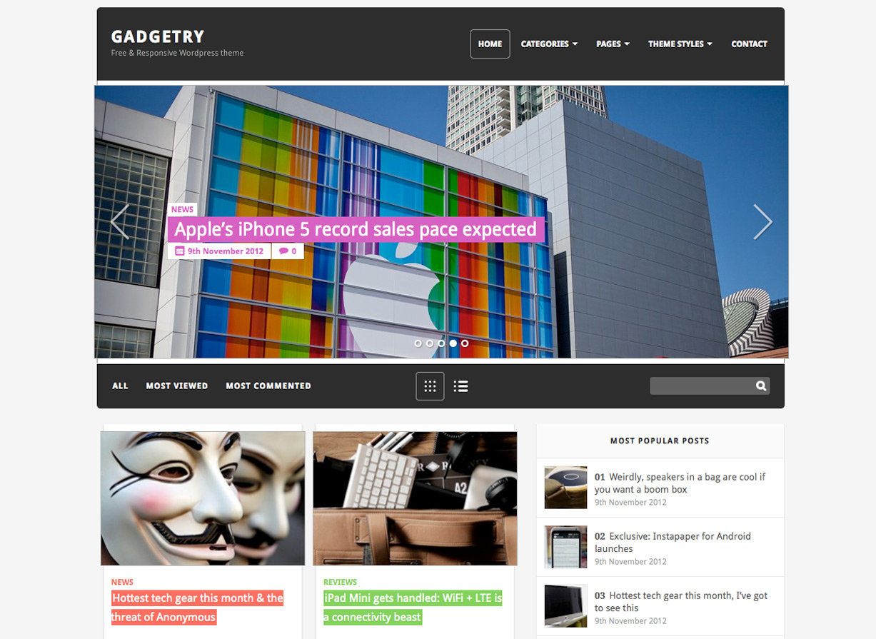 Gadgetry Free WordPress Theme