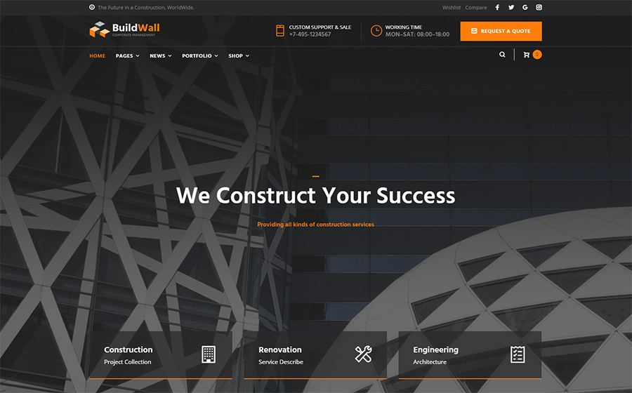 BuildWall Construction Company Multipurpose WordPress Theme
