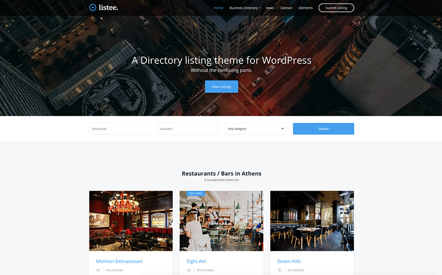 Listee Directory Listing WordPress Theme