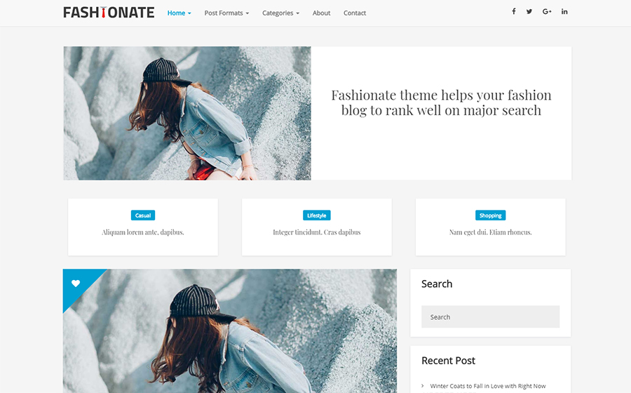 Fashionate Blogging Gratis WordPress Theme