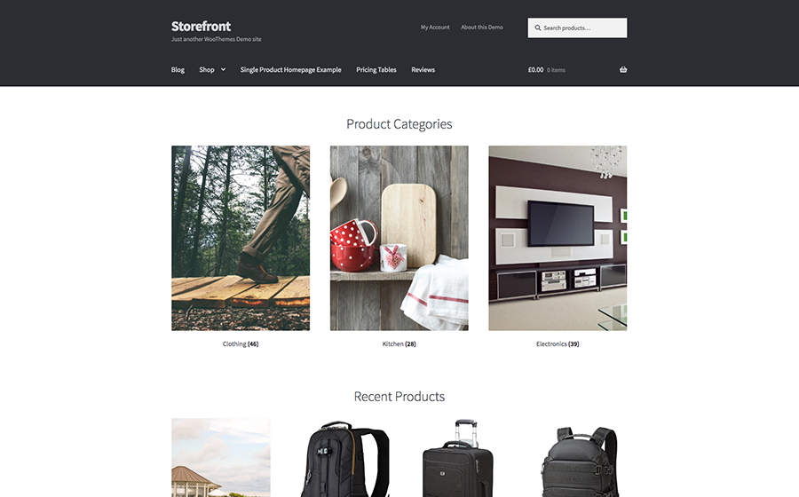 Storefront e-handel WordPress Theme