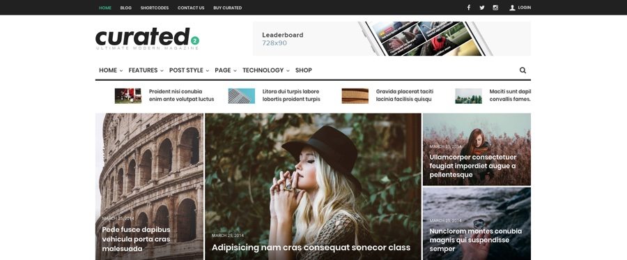 Curated Ultimate Modern Magazine WordPress Theme