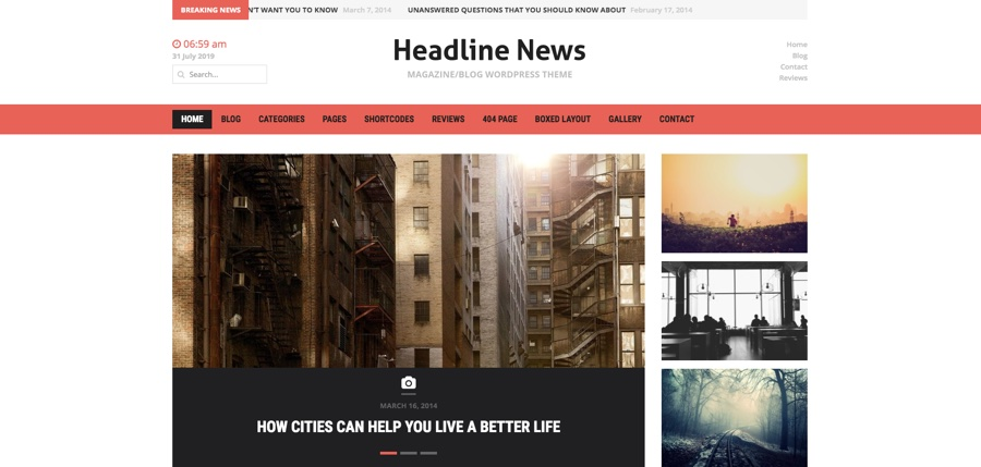 Headline News & Magazine WordPress Theme