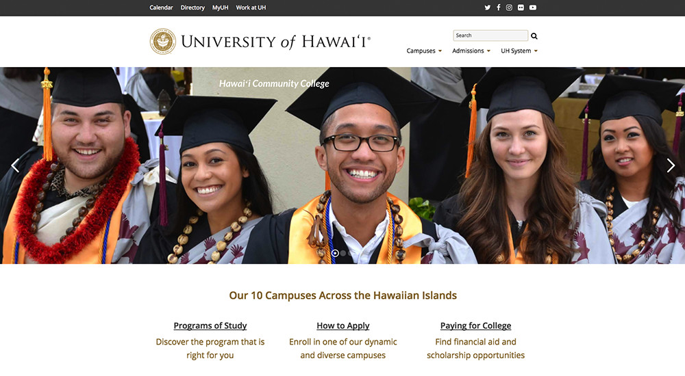 Stora namnmärken som använder WordPress: University of Hawaii