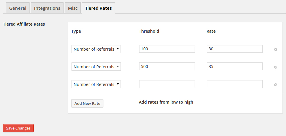 Affiliate WP Tiered Affiliate Rates