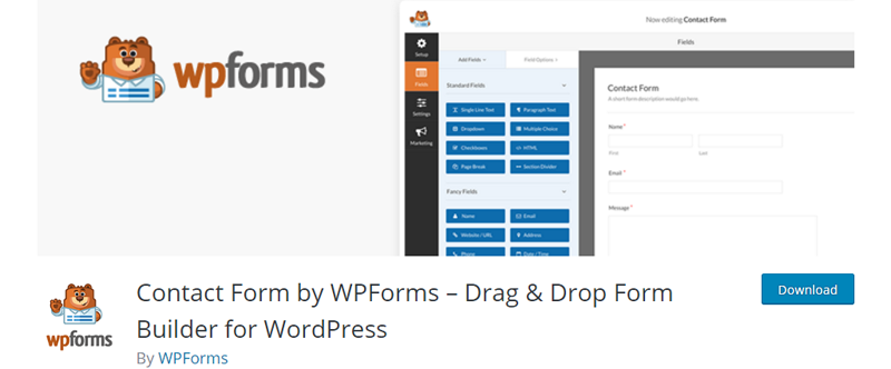 Kontaktný formulár od WPForms - Drag Drop Builder for WordPress - WordPress Plugins