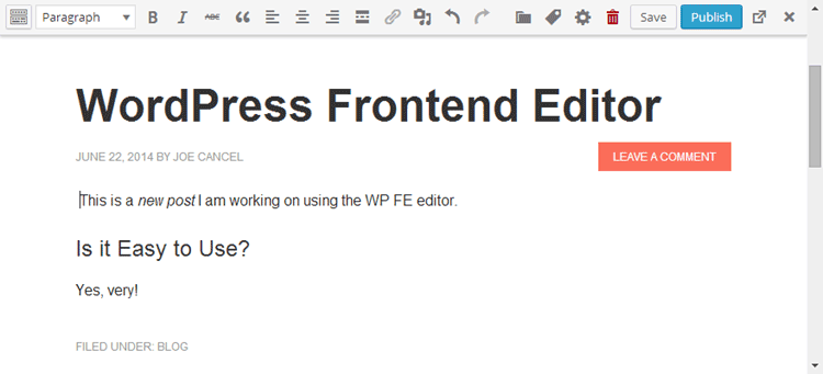 Front-end editor WordPress
