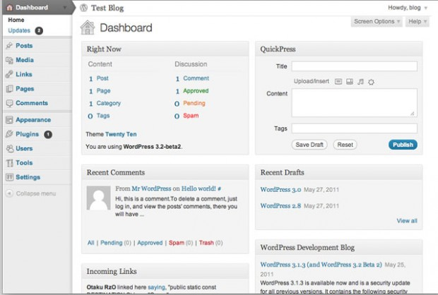 dashboard wordpress 3.2-beta-2