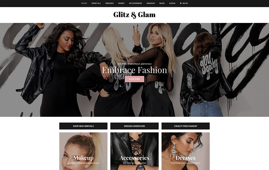 Demostración de WordPress Total Glitz & Glam Ecommerce