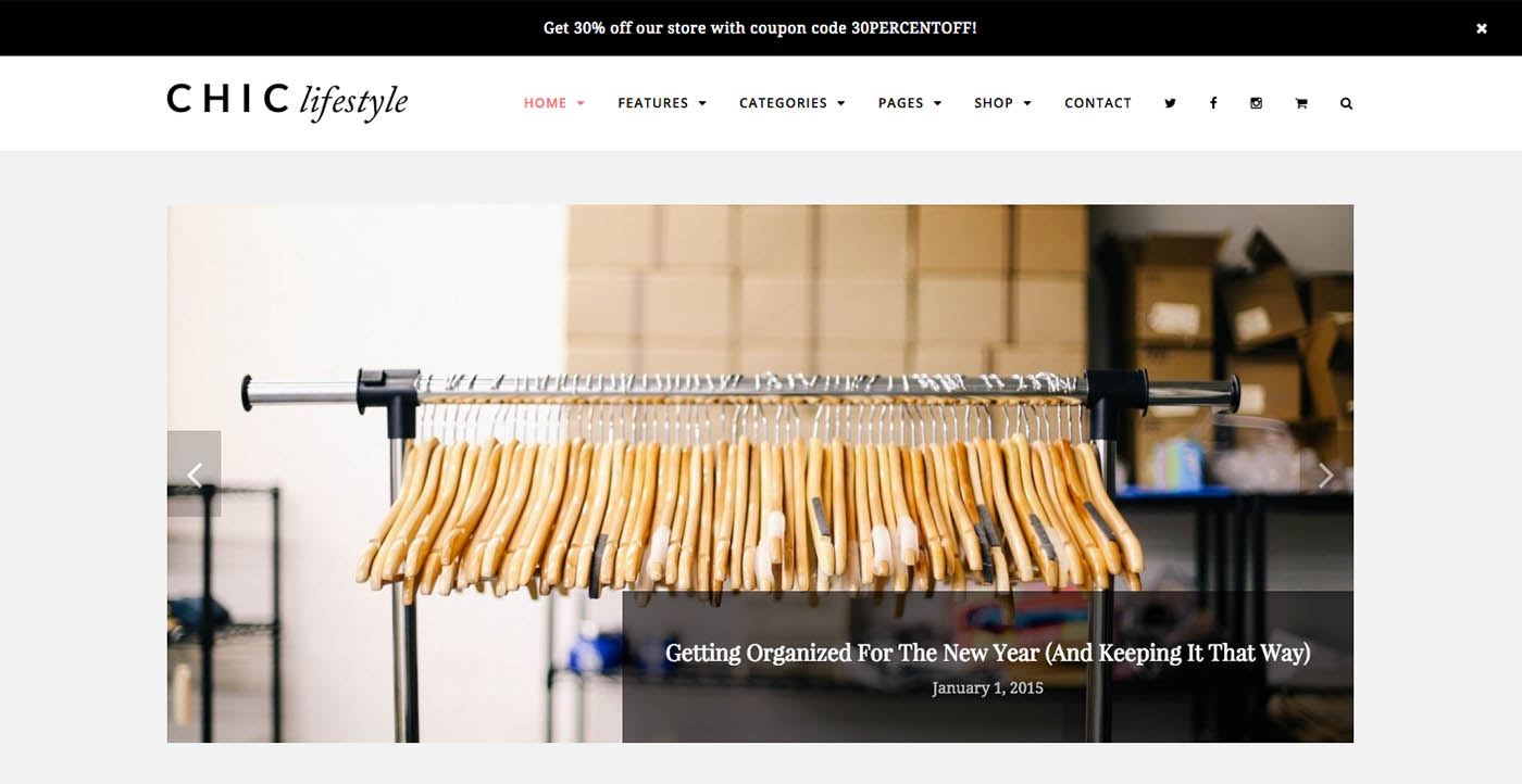 Chic Modern Blog & Store WordPress tema