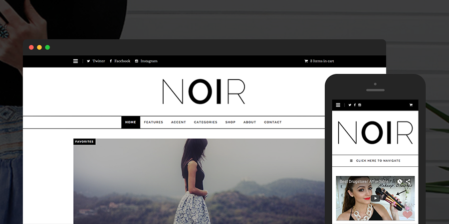 Noir Simple WordPress Theme para infoprenuers