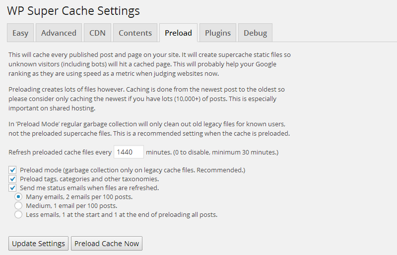 WP Super Cache Preload Tab