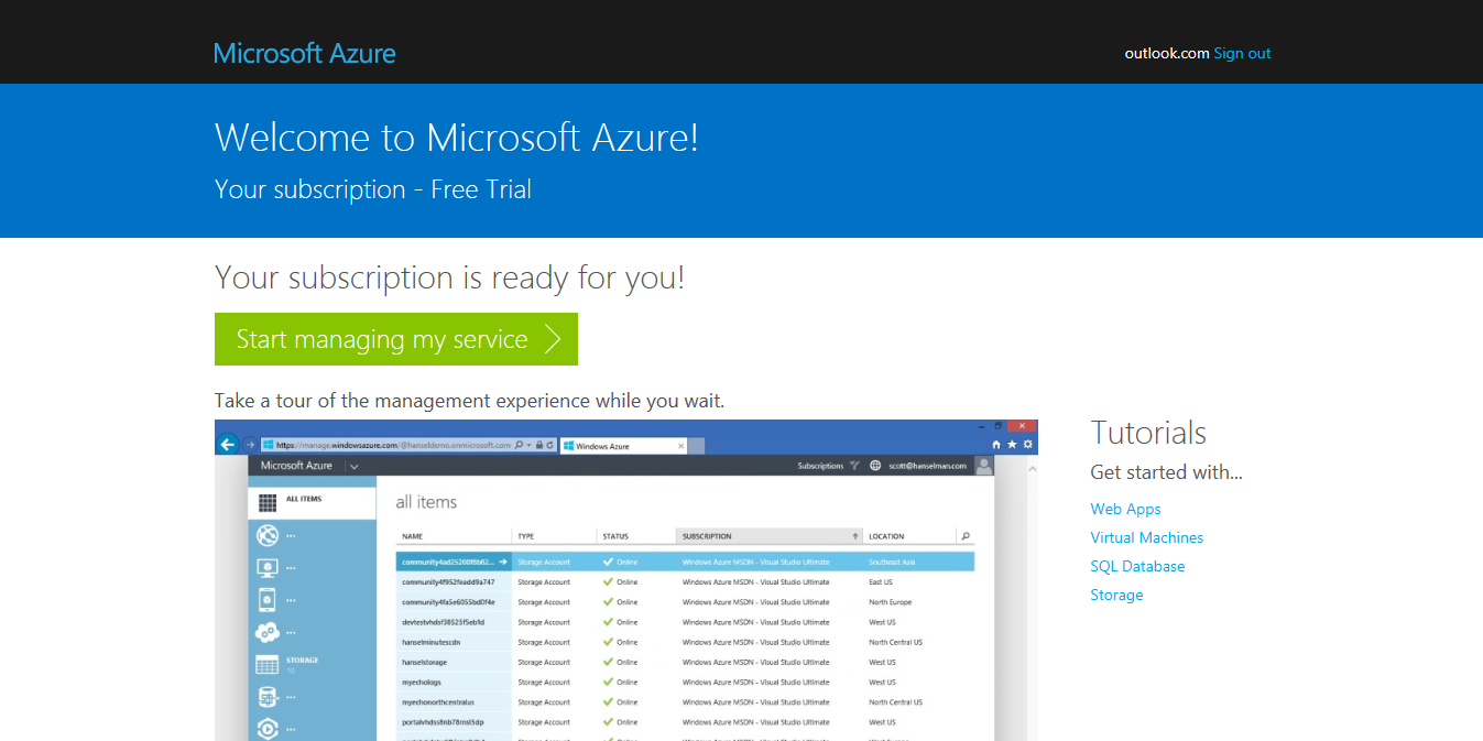 azure-install-wordpress-account-created