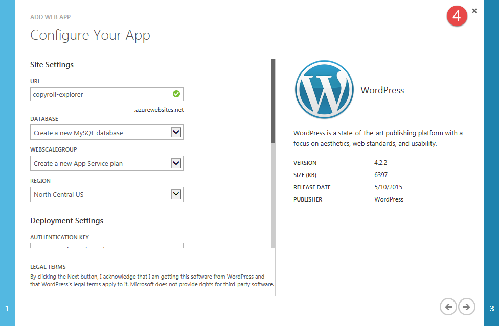 azure-install-wordpress-azure-step-2-2-config-region