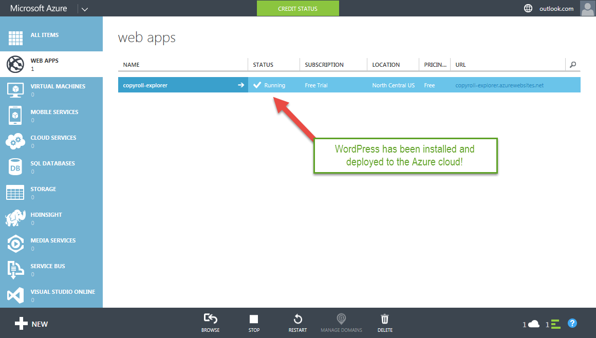azure-install-wordpress-azure-step-2-3-success-app-created