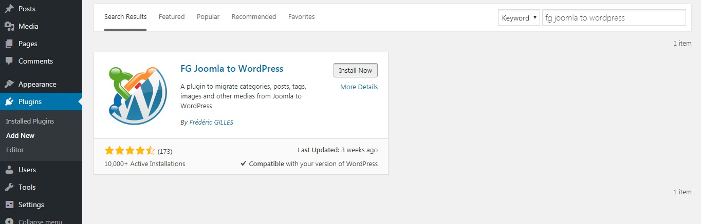 Installera FG Joomla till WordPress Plugin
