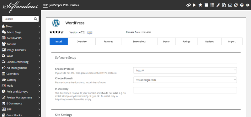Softaculous-wordpress-installation-second