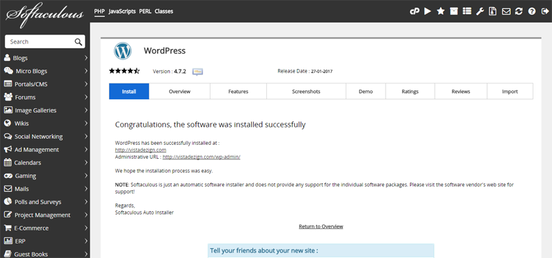Softaculous-wordpress-installation-done