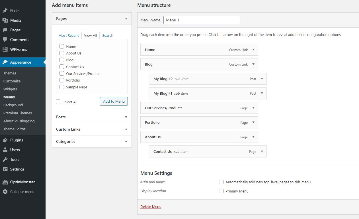 WordPress bagaimana membuat menu