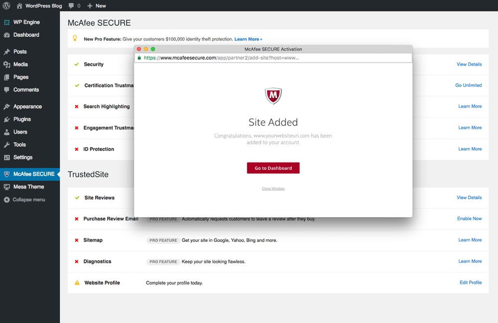 McAfee SECURE Confirmation
