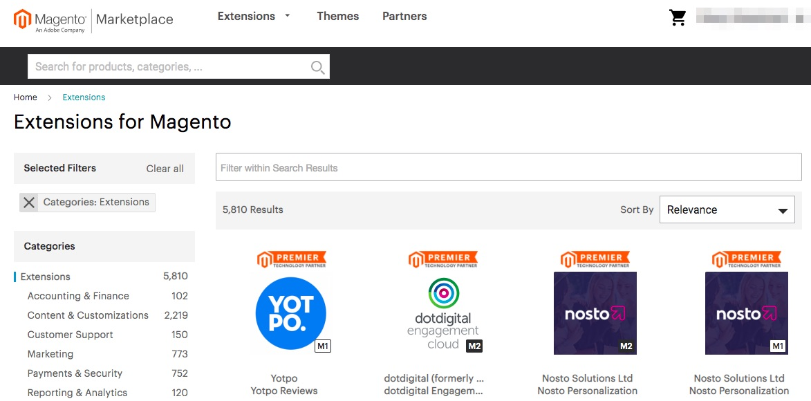 Magento Marketplace-extensies.