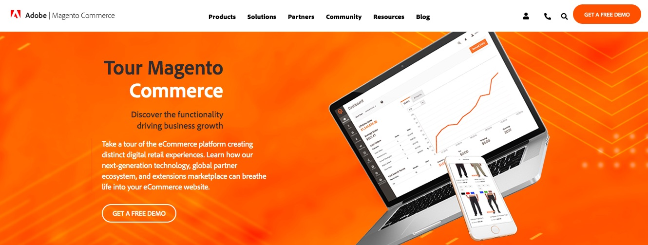 De Magento e-commerce platform homepage.