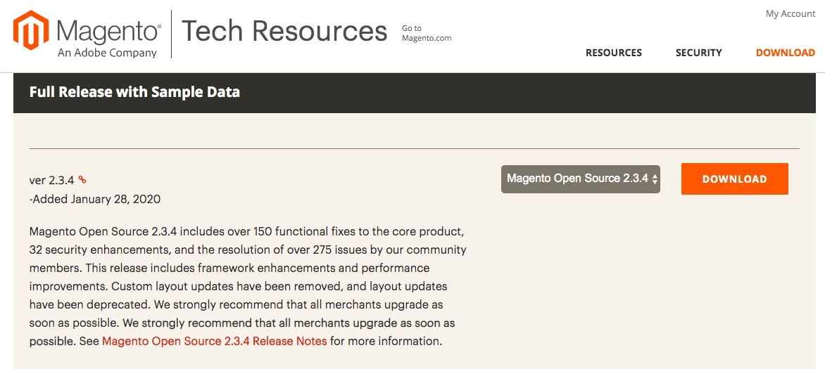 De Magento Tech Resources downloadpagina.