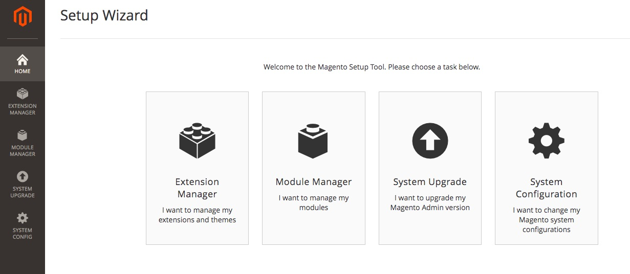 Magento setup wizard opties.