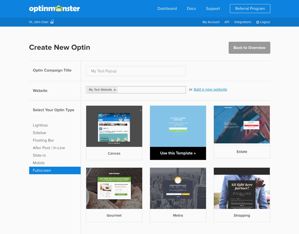 OptinMonster Optin Form Selection