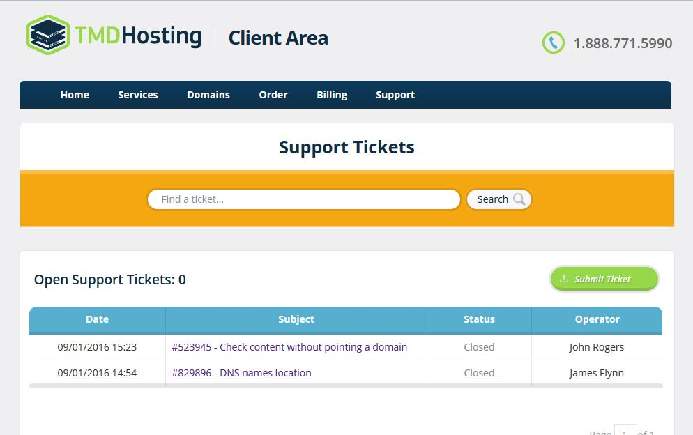 TMD Hosting Ticket-systeem