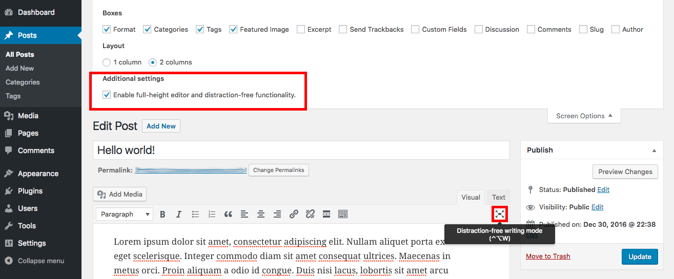 WordPress distraction Free Pisanje