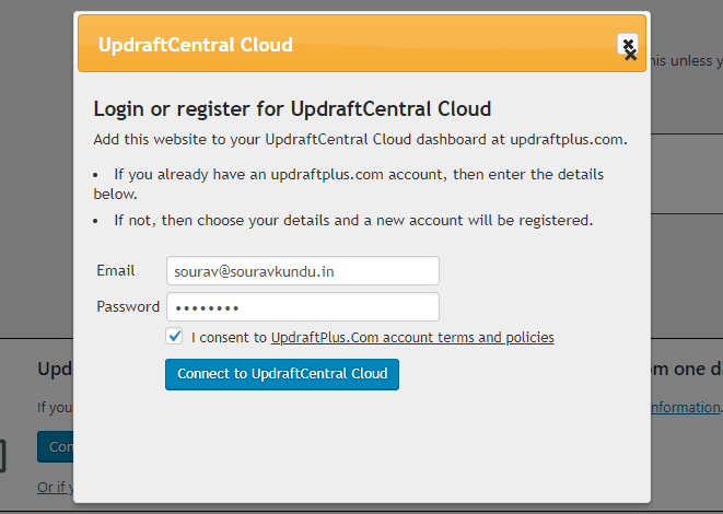 UpdraftCentral Cloud - 1 registrering