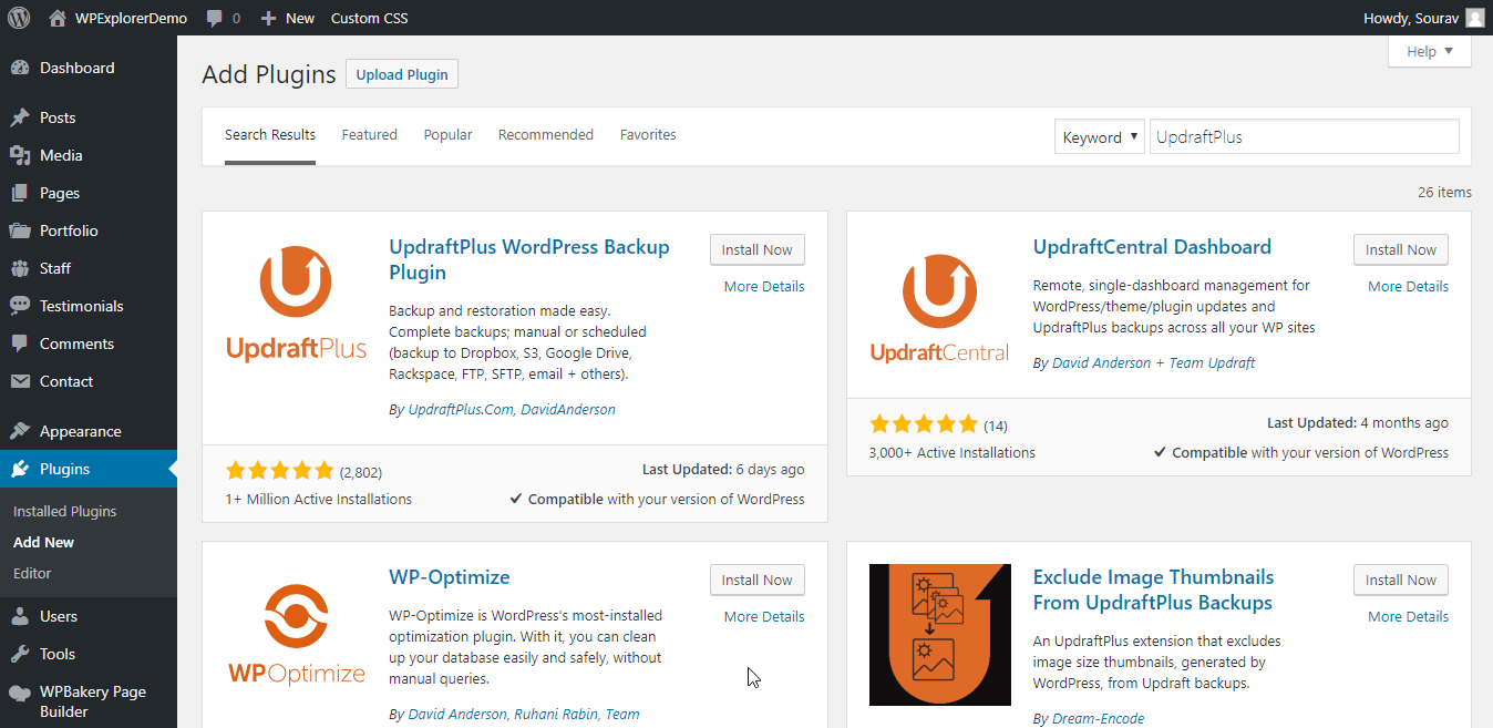 Installera UpdraftPlus WordPress Plugin